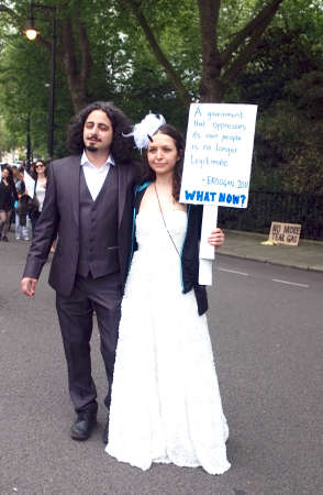 Newly married Turkish protesters