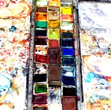 Heavily used Watercolor box with side palettes