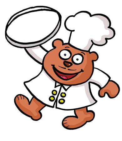 A cartoon bear chef Vector