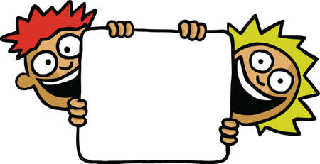 customisable: Two kids holding an empty board Illustration