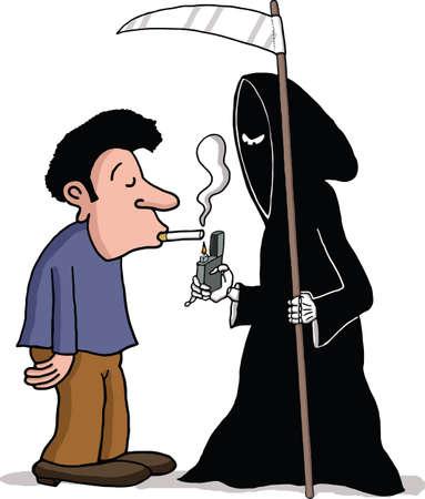 Death angel is lighting a man s cigarette