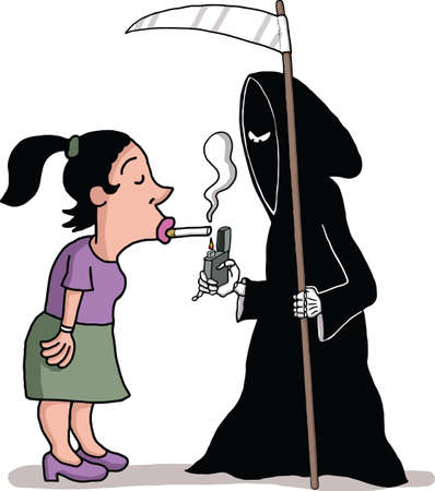 the angel of death:  A death angel is lighting a woman s cigarette