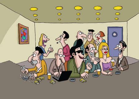 socializando: Un grupo de personas que fuman y socializar en un bar Vectores
