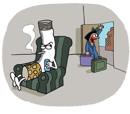 Conceptual cartoon of a woman who leaves her lazy cigarette shaped husband