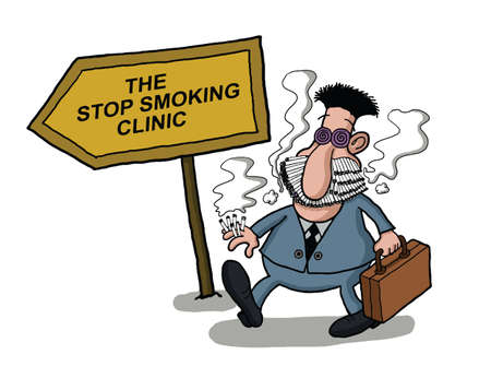 A man goes to a smoking clinic with her mouth full of cigarettes Vector