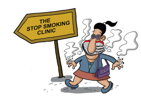 cigar smoking woman: A woman goes to a smoking clinic with her mouth full of cigarettes