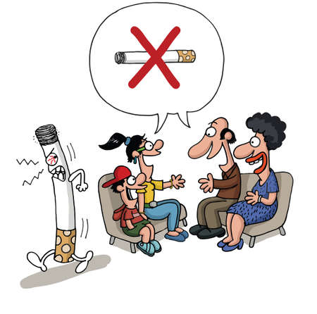 cigar smoking woman: A family is meeting against smoking and a cigarette leaves the room angry