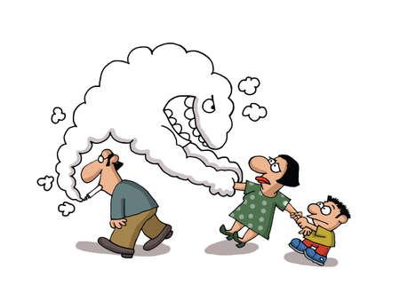 malos habitos: Sale humo del cigarrillo de un hombre s tira de una dama