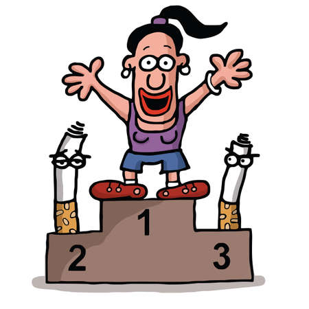 woman smoking: A woman quit smoking and is on the medal podium as a winner over cigarettes