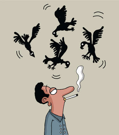 Vultures are circling above the male smoker Illustration