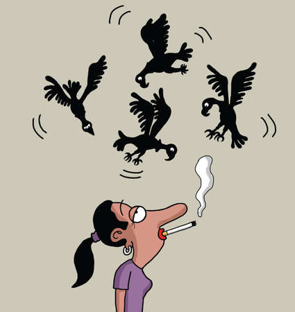 Vultures are circling above the female smoker Vector
