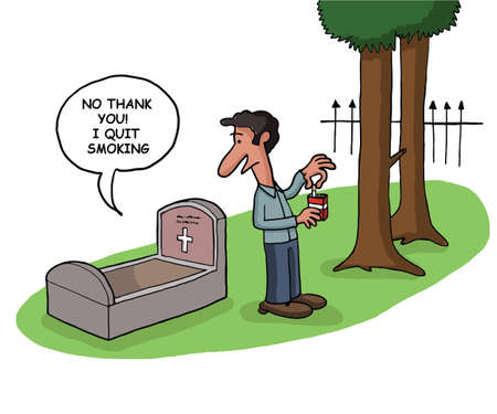 A deceased person tells that he quit smoking in his grave Illustration