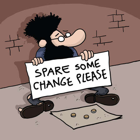 Cartoon of a Homeless man is holding a board with text photo