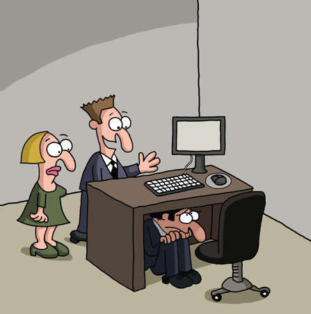 self esteem: Shy new male office worker cartoon Stock Photo