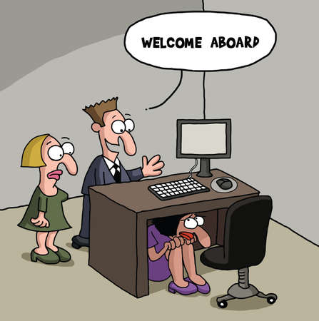 New office worker cartoon gag Banque d'images