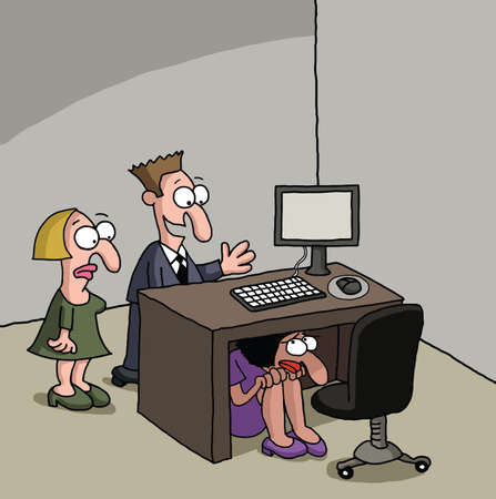 shyness: Shy new female office worker