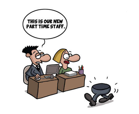 Part time worker cartoon joke Illustration