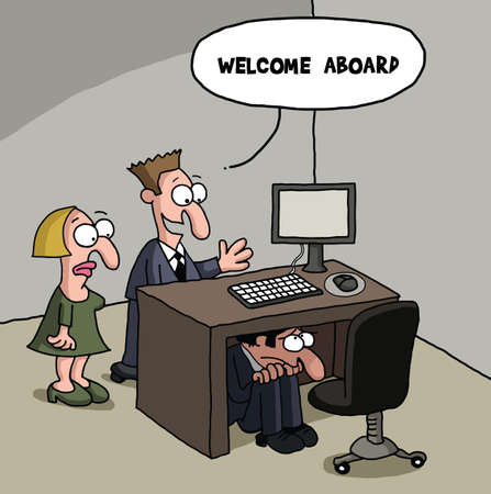 New male office worker cartoon gag Ilustração