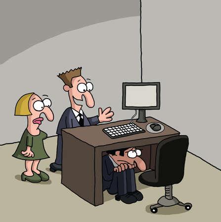 shyness: Shy new male office worker cartoon Illustration