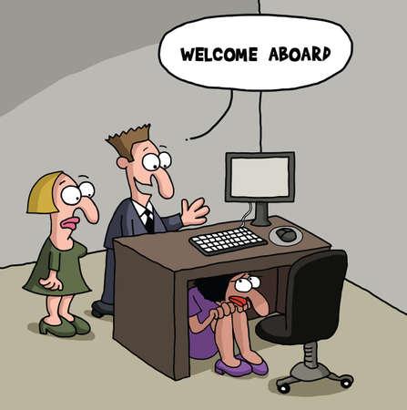 gag: New office worker cartoon gag Illustration