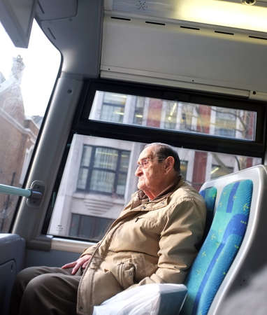 Elderly man on the bus