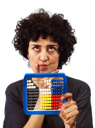 Woman calculates with Abacus photo