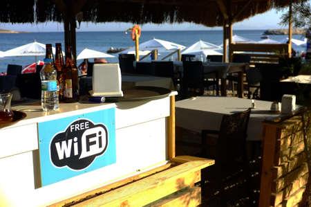 Wi-Fi sign in a beach cafe