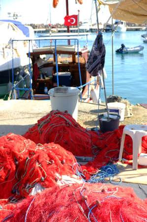 floaters: Fishing nets on pier