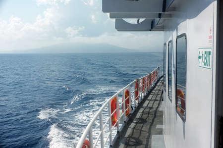 flotation: Passenger boats side deck Stock Photo