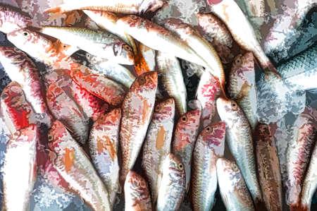 Tote Fische auf dem Stall mit einigen digitalen Effekten Standard-Bild - 34059549