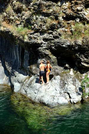 swimming costume: Couple with swimming costume in nature