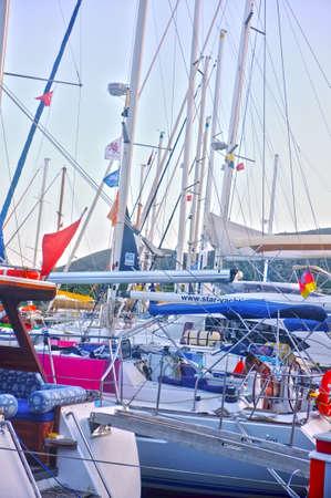 docked: Yachts docked in marina