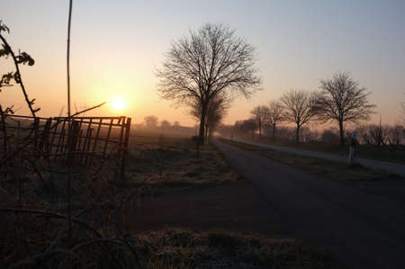 Sunrise scenery with an empty road