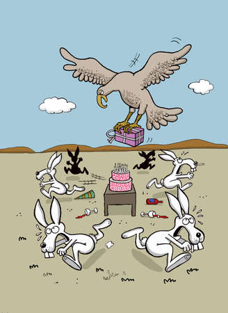 unwanted: Eagle brings a present to rabbits birthday party Illustration