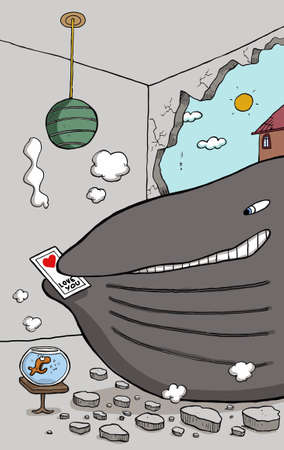 Whale is giving birthday card to gold fish Vector
