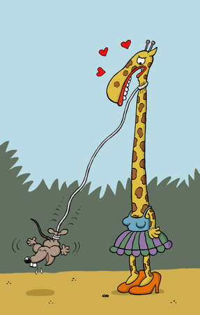 neck: Mouse bungee jumps from Giraffes neck