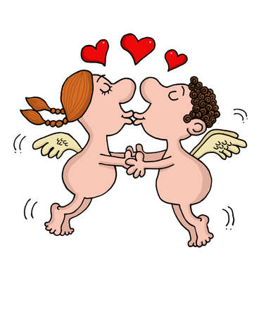 Angels are in love kissing Illustration