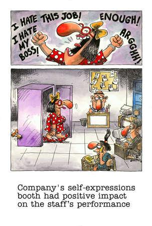 imbavagliare: Cartoon gag sulla vita d'ufficio Archivio Fotografico