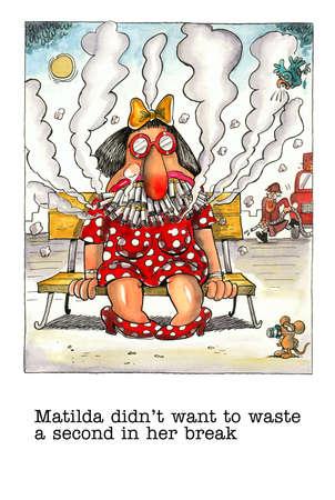 smoker: Cartoon gag about female smoker