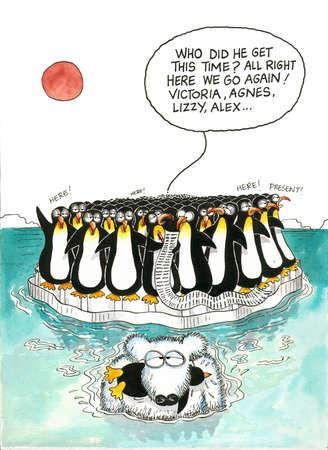 gag: Cartoon gag of polar bear and penguins Stock Photo