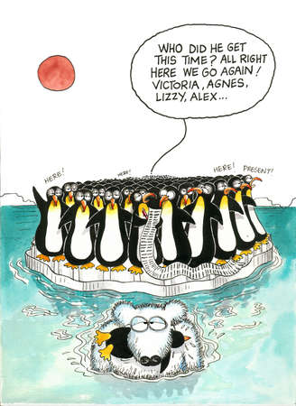 Cartoon gag of polar bear and penguins Фото со стока