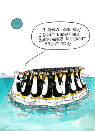 resemblance: Cartoon about penguin resemblance Stock Photo