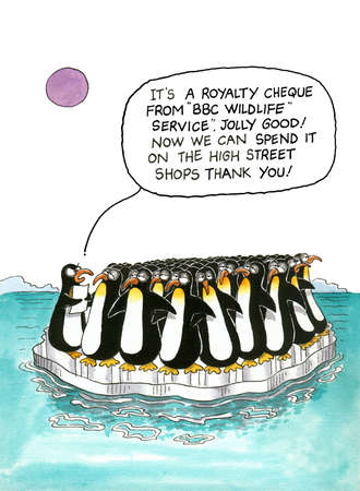 kokhalzen: Cartoon gag over pinguïns Stockfoto