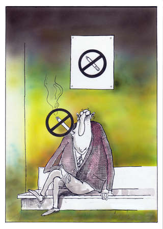 fag: Cartoon of a man smoking No Smoking sign. Stock Photo