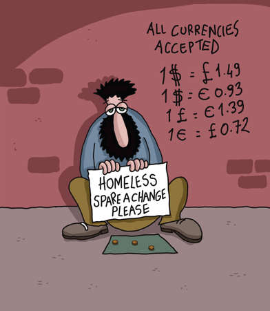 begging: Homeless man with currency list
