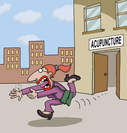 鍼治療について概念的な漫画  イラスト・ベクター素材