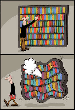 literary man: Conceptual cartoon of a man selecting book from bookcase which deflates