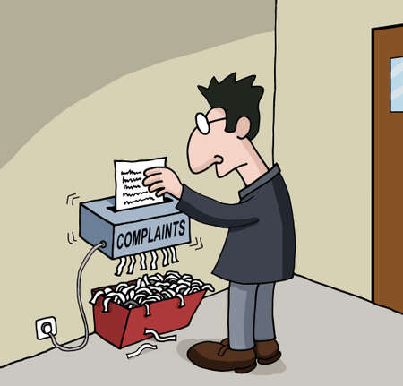 shredding: Conceptual cartoon about male office worker Illustration