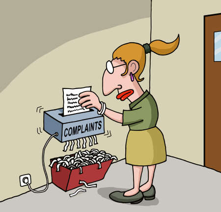 shredder: Conceptual cartoon about female office worker