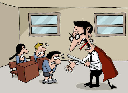 student teacher: Conceptual cartoon of a monster teacher in school